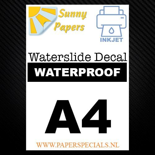 Inkjet | Waterslide Decal Papier Watervast | Wit | A3