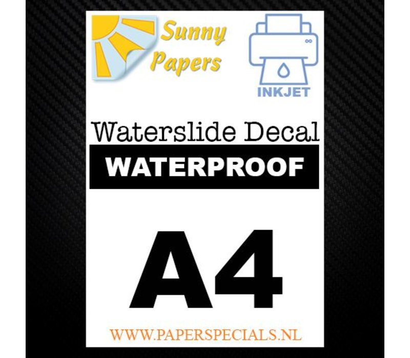 Inkjet | Sunny Waterslide Decal Paper WATERPROOF | White | A3