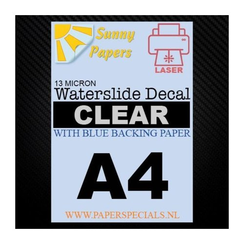 Laser | Waterslide Decal Paper Standard 13µ | Clear (Blue backing) | A4