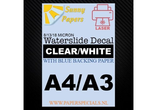 Sunny Papers Laser | Waterslide Decal Papier Standaard 13µ | Transparant (Blauwe drager) | A3