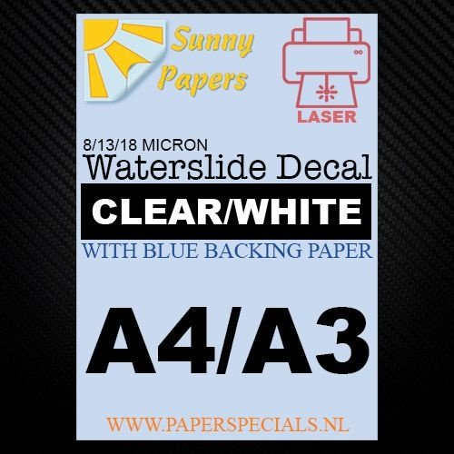 Laser | Waterslide Decal Paper Standard 13µ | Clear (Blue backing) | A3