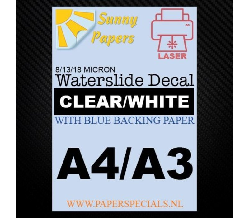 Laser | Sunny Waterslide Decal Papier Standaard 13µ | Transparant (Blauwe drager) | A3