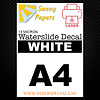 Sunny Papers Laser | Sunny Waterslide Decal Papier Standaard 13µ | Wit (Witte drager) | A4