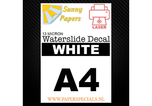 Sunny Papers Laser | Waterslide Decal Papier Standaard 13µ | Wit (Witte drager) | A4