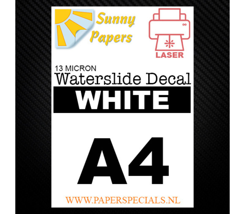 Laser | Sunny Waterslide Decal Papier Standaard 13µ | Wit (Witte drager) | A4