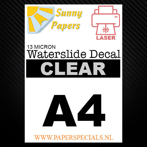 Laser | Waterslide Decal Papier Standaard 13µ | Transparant (Witte drager) | A4