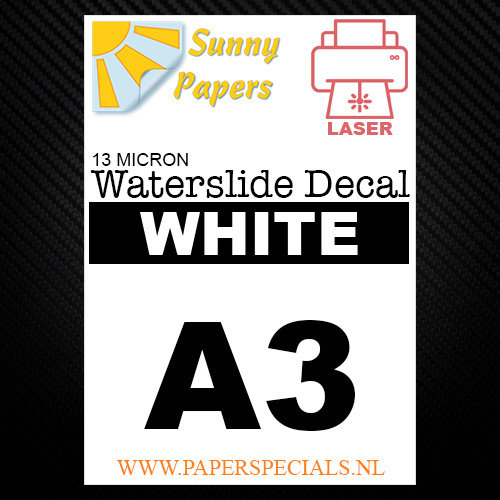 Laser | Waterslide Decal Papier Standaard 13µ | Wit (Witte drager) | A3