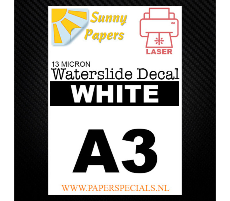 Laser | Sunny Waterslide Decal Papier Standaard 13µ | Wit (Witte drager) | A3