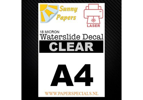 Sunny Papers Laser | Waterslide Decal Papier Premium 18µ | Transparant (Witte drager) | A4