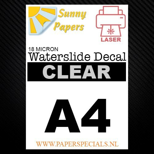 Laser | Waterslide Decal Papier Premium 18µ | Transparant (Witte drager) | A4
