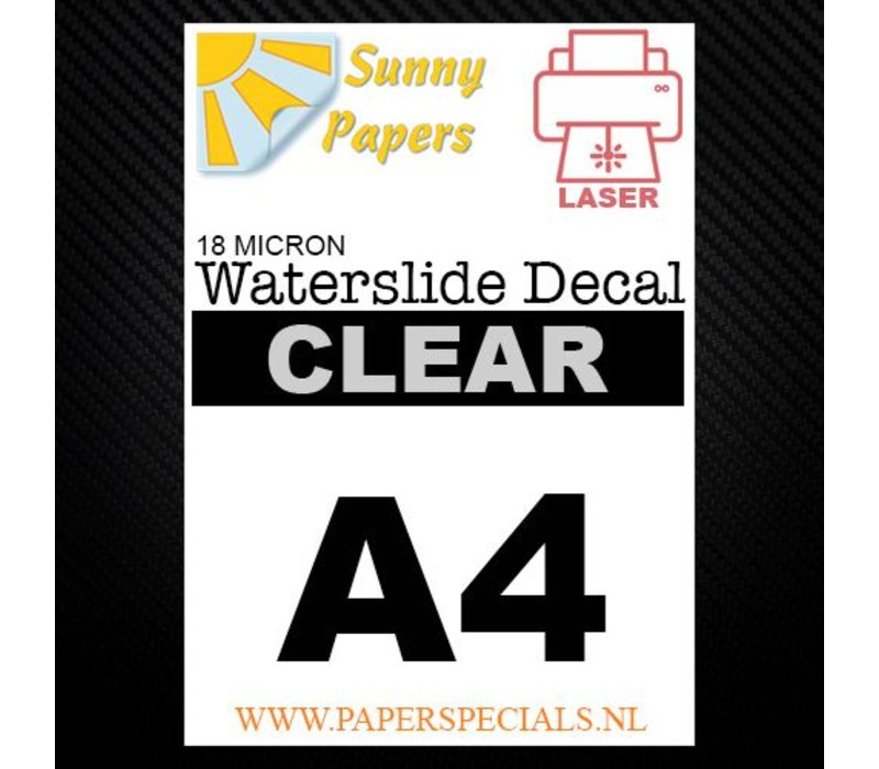 Laser | Sunny Waterslide Decal Papier Premium 18µ | Transparant (Witte drager) | A4