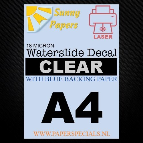 Laser   Waterslide Decal Paper Premium 18µ   Clear (Blue backing)   A4