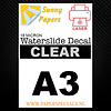 Sunny Papers Laser | Sunny Waterslide Decal Papier Premium 18µ | Transparant (Witte drager) | A3
