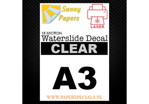 Sunny Papers Laser | Waterslide Decal Paper Premium 18µ | Clear (White backing) | A3