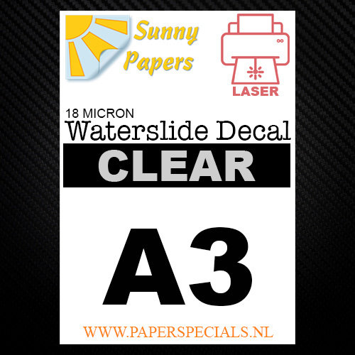 Laser | Waterslide Decal Papier Premium 18µ | Transparant (Witte drager) | A3