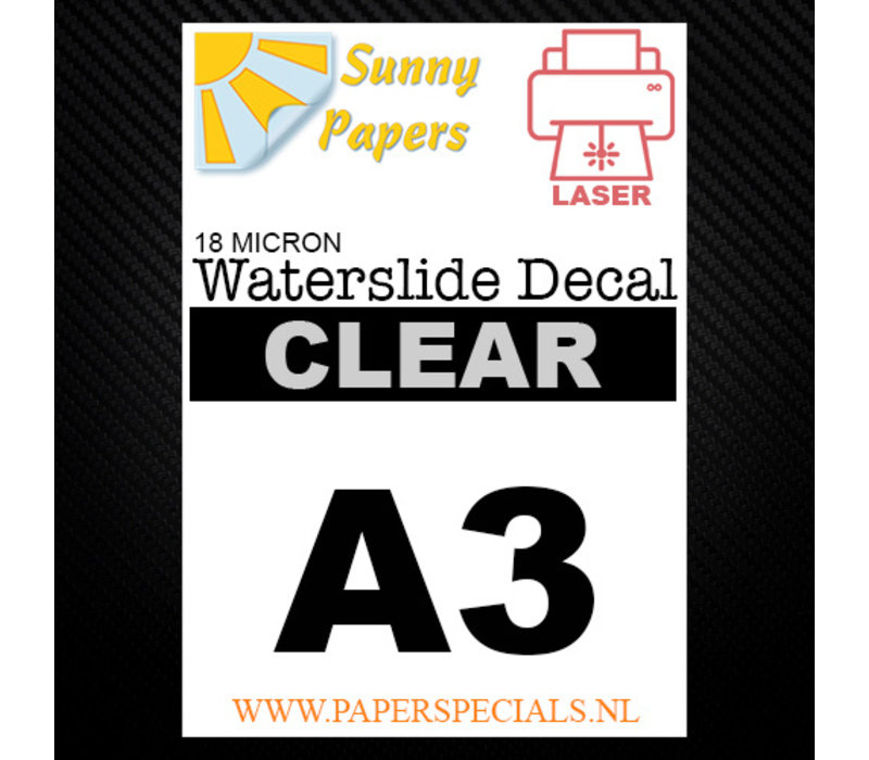 Laser | Sunny Waterslide Decal Paper Premium 18µ | Clear (White backing) | A3