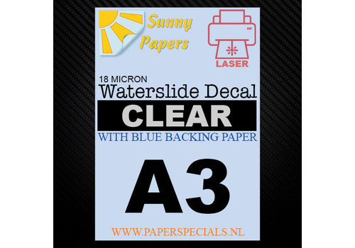Sunny Papers Laser | Waterslide Decal Paper Premium 18µ | Clear (Blue backing) | A3