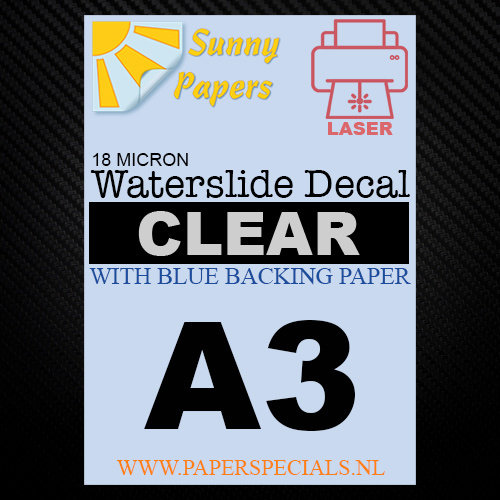 Laser | Waterslide Decal Paper Premium 18µ | Clear (Blue backing) | A3