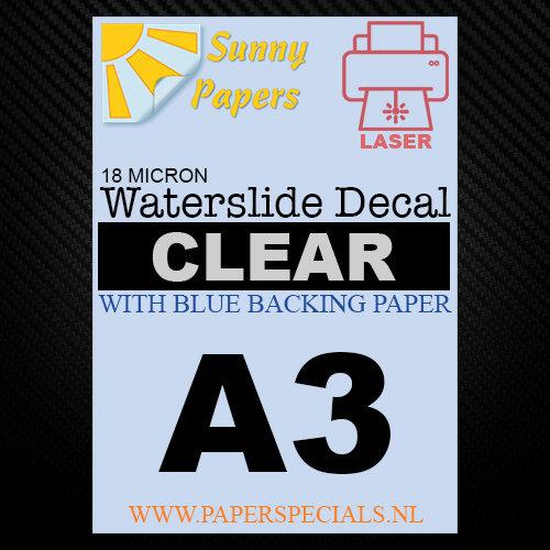 Laser | Waterslide Decal Papier Premium 18µ | Transparant (Blauwe drager) | A3
