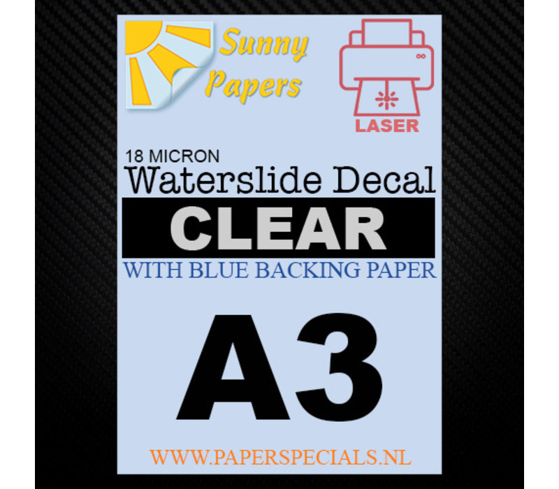 Laser | Sunny Waterslide Decal Paper Premium 18µ | Clear (Blue backing) | A3