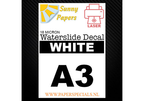 Sunny Papers Laser | Waterslide Decal Papier Premium 18µ | Wit (Witte drager) | A3