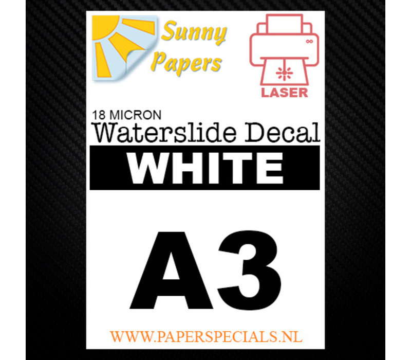 Laser | Sunny Waterslide Decal Papier Premium 18µ | Wit (Witte drager) | A3