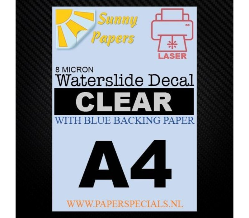 Laser | Sunny Waterslide Decal Paper Thin 8µ | Clear (Blue backing) | A4
