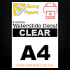 Sunny Papers Laser   Sunny Waterslide Decal Paper Thin 8µ   Clear (White backing)   A4