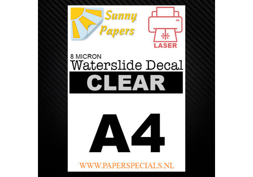 Sunny Papers Laser | Waterslide Decal Paper Thin 8µ | Clear (White backing) | A4
