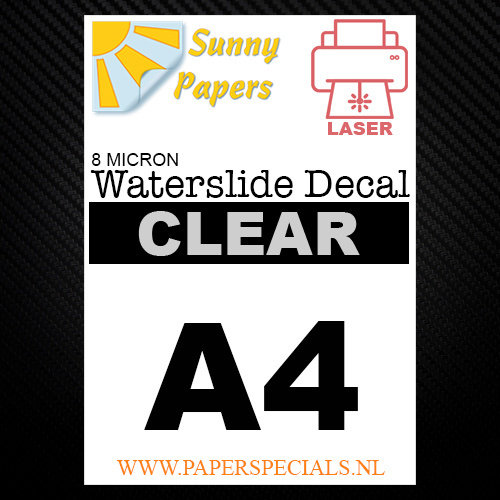 Laser | Waterslide Decal Papier Dun 8µ | Transparant (Witte drager) | A4