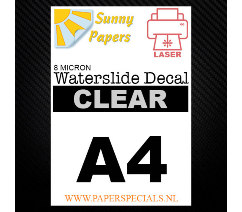 Laser | Sunny Waterslide Decal Papier Dun 8µ | Transparant (Witte drager) | A4