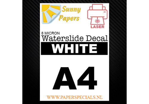 Sunny Papers Laser | Waterslide Decal Paper Thin 8µ | White (White backing) | A4