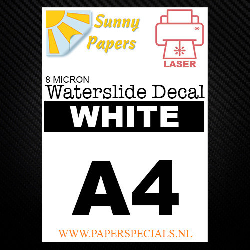 Laser | Waterslide Decal Papier Dun 8µ | Wit (Witte drager) | A4