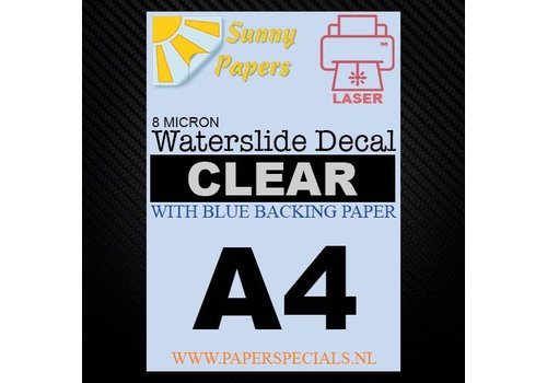 Sunny Papers Laser | Waterslide Decal Paper Thin 8µ | Clear (Blue backing) | A4 - Copy