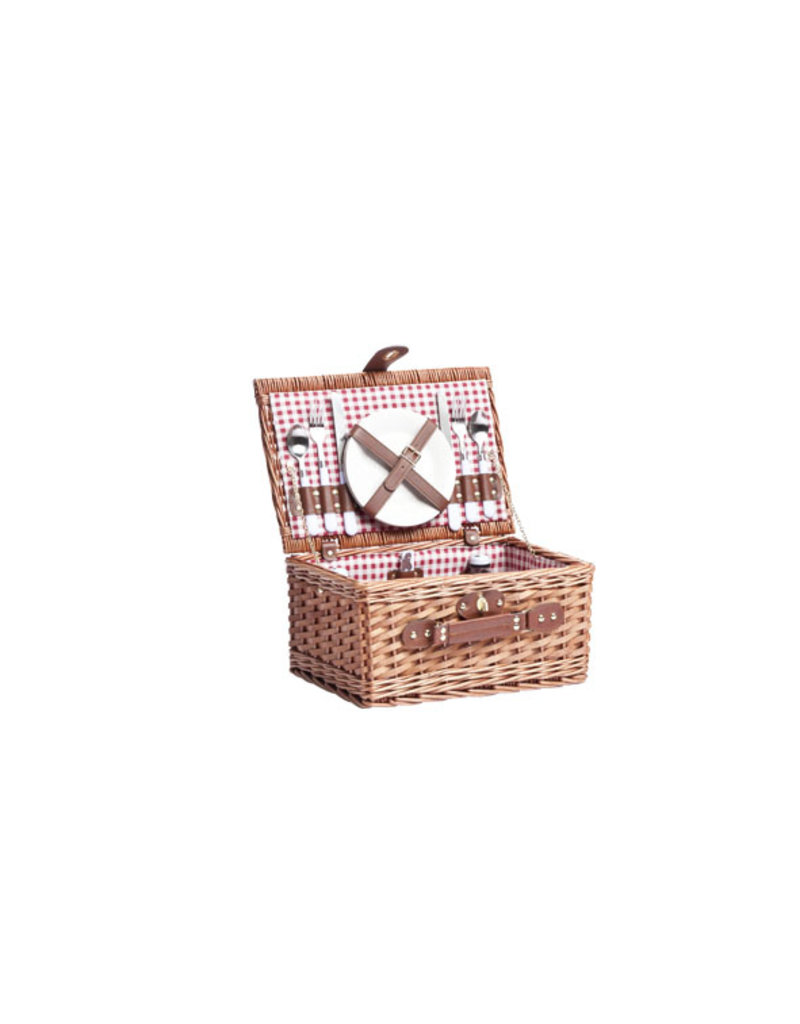 Cosy & Trendy Red Picnic basket 2 people with wine glasses and opener