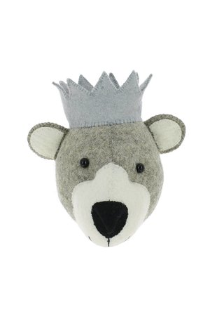 Fiona Walker England Animal head mini - bear with crown
