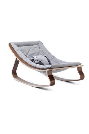 Charlie Crane Levo walnut baby bouncer- sweet grey