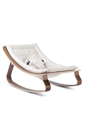 Levo walnut baby bouncer - white