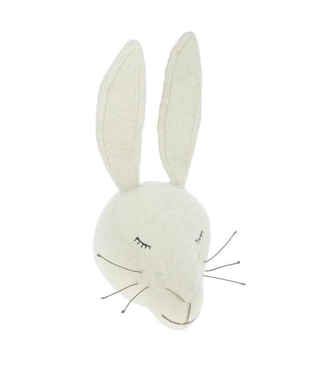 Dierenhoofd - slapend wit konijn