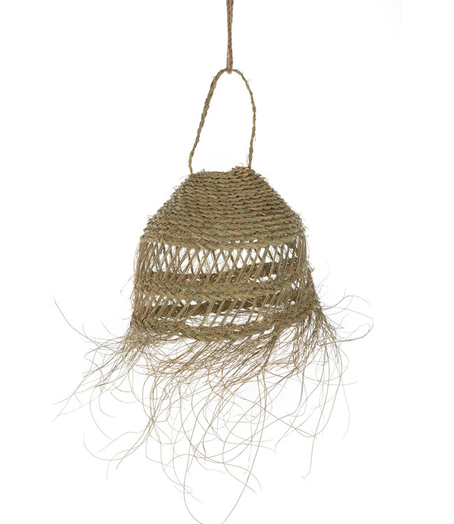Hanging lamp seagrass 'Meduse' with fringes