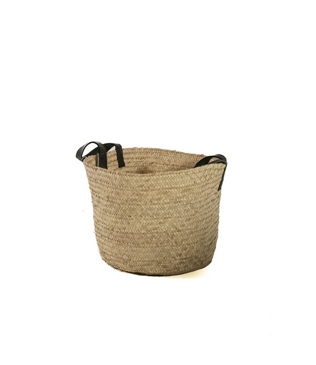 Palm basket  'koffa tradi' with leather handles, S