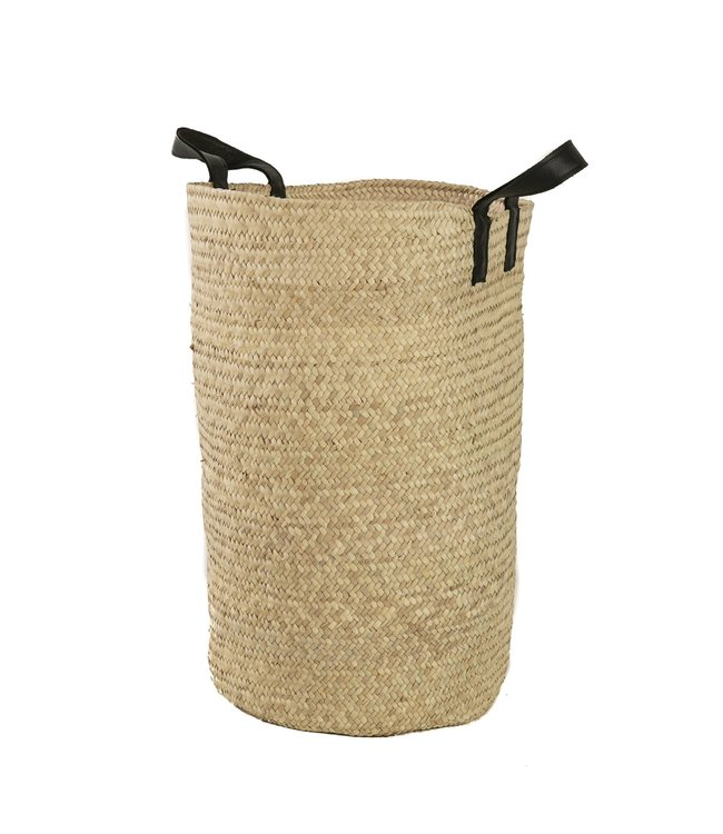 Palm basket 'koffa tradi' with leather handles, L