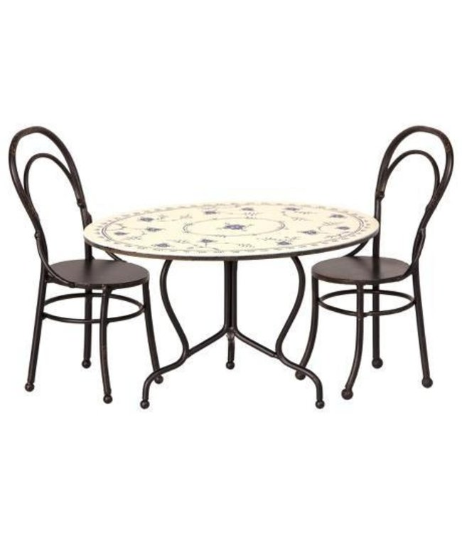 Maileg Mini dining table set - anthracite
