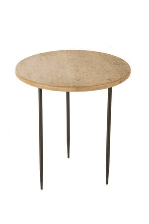 High round side table on metal legs