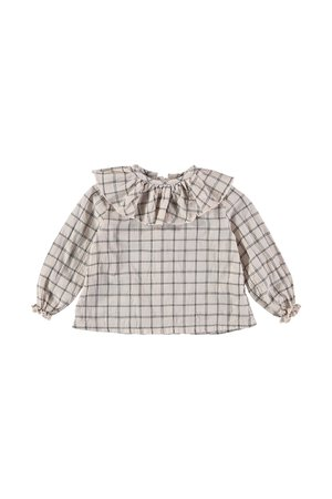 Buho Juliette check collar blouse - dust rose