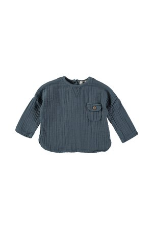 Buho Teo Cotton Gauze Shirt- Ocean Blue