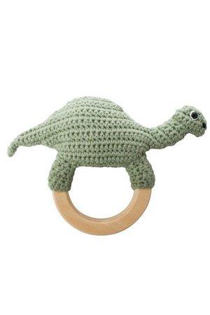 Sebra Crochet rattle 'Dino on ring'
