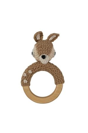 Sebra Gehaakte rammelaar, hert op ring, light brown