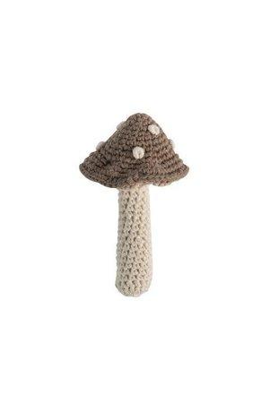 Sebra Gehaakte rammelaar, paddenstoel, light brown