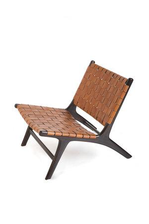 Boro lounge chair -  tobacco leather & dark brown teak